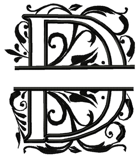 Royal Split Alpha D Applique Embroidery Design