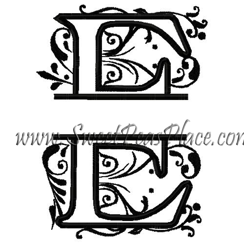 Royal Split E Applique Embroidery Design