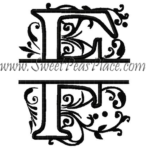 Royal Split F Applique Embroidery Design