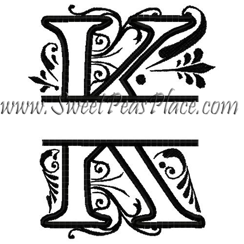 Royal Split Royal Split K Applique Embroidery Design Sweet Peas Place