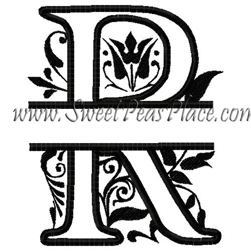Royal Split R Applique Embroidery Design