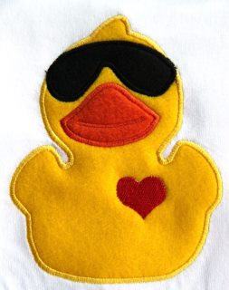 Rubber Ducky with Sunglasses Applique Embroidery Design