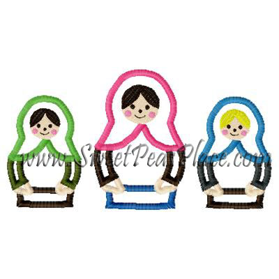 Russian Dolls Applique Embroiery Design