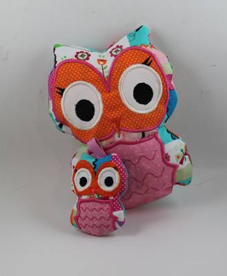 Owl Ruth Stuffy and Keychain in the hoop applique embroidery Des
