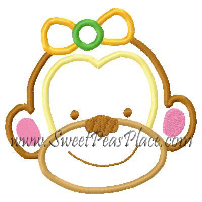 Safari Monkey Applique Embroidery Design