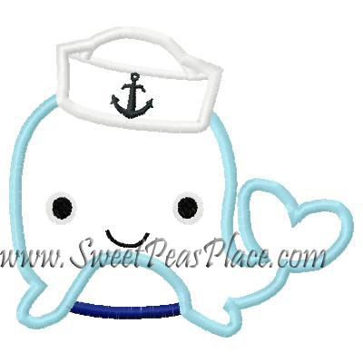 Whale with Sailor Hat Applique Embroidery Design