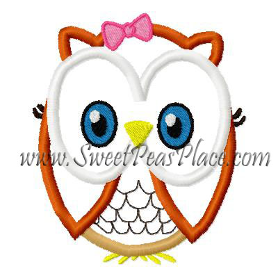 Owl Sally Applique Embroidery Design