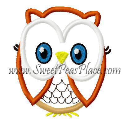 Sally Owl no bow Applique Embroidery Design