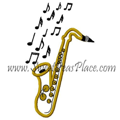 Saxophone with Music Notes Applique Embroidery Design