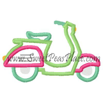 Scooter Applique Embroidery Design