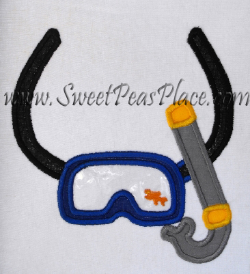 Scuba Mask for Vinyl Applique Embroidery Design