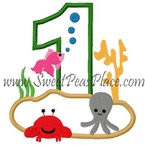 Number One with Sea Creatures Applique Embroidery Design