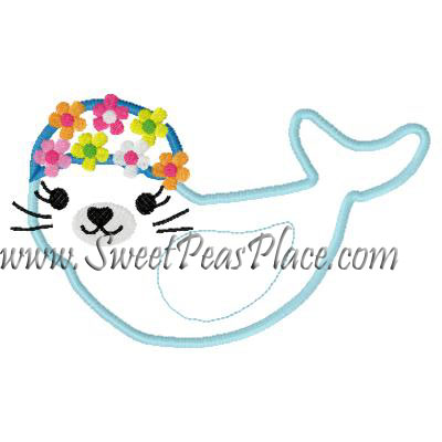 Seal with Flowers Applique Embroidery Design