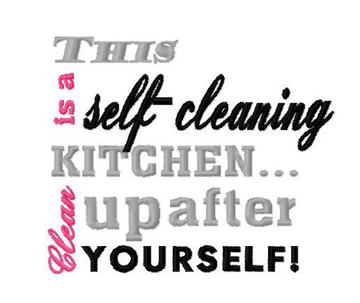 This is a Self Cleaning Kitchen Embroidery Design