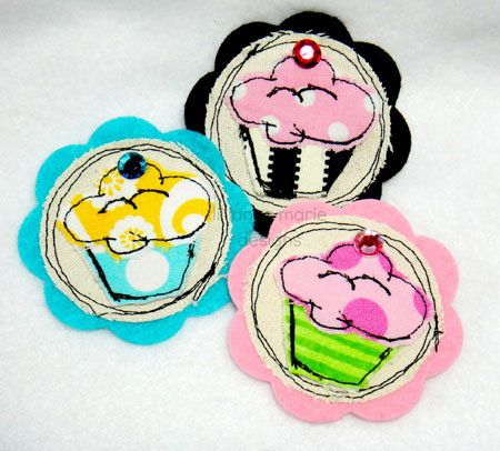 Shabby Cupcake for Clippies Applique Embroidery Design