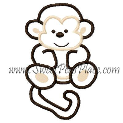 Silly Monkey Applique Embroidery Design