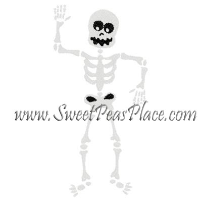 Skeleton Body Filled Embroidery Design