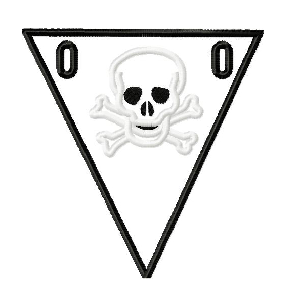Skull Banner Pennant in the Hoop Embroidery Design