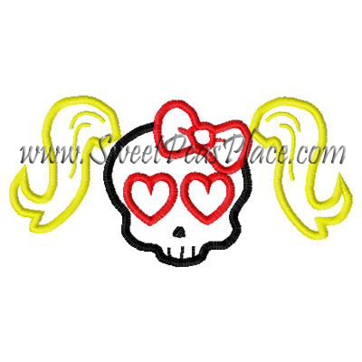 Skull with Pony Tail Applique Embroidery Design
