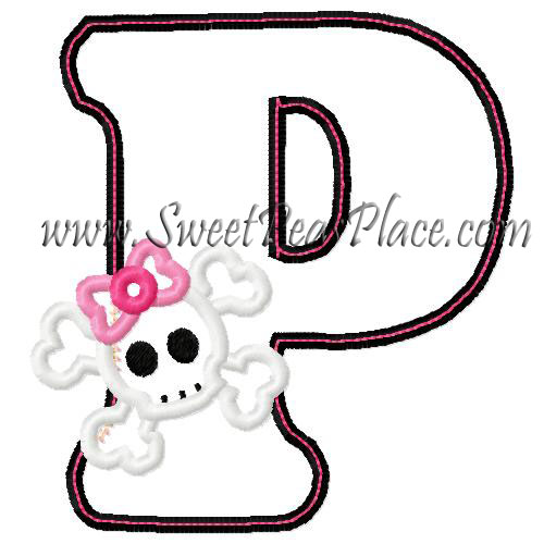 Skull with P Applique Embroidery Design