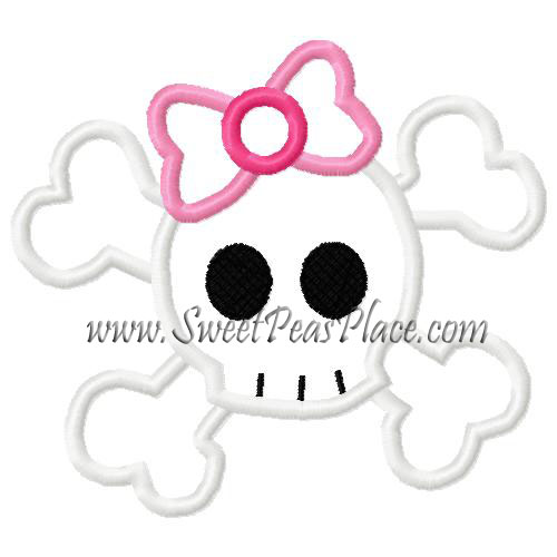 Skull with Bow Applique Embroidery Design