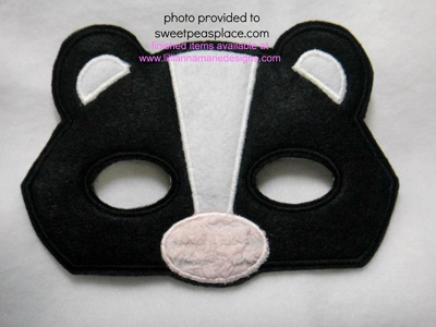Skunk Mask in the Hoop Applique Embroidery Design