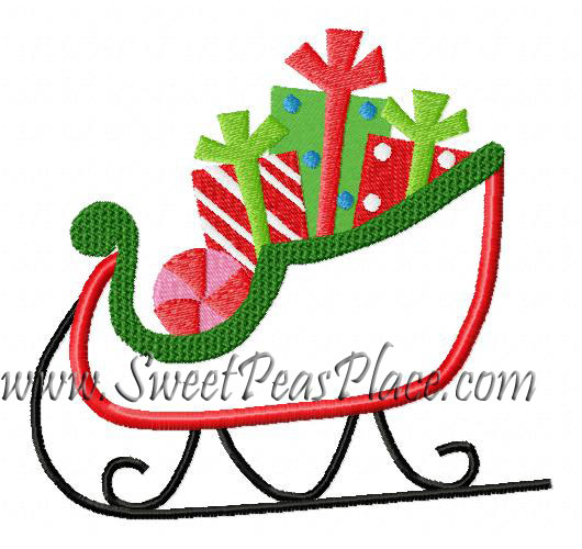 Sleigh Applique Embroidery Design
