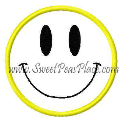 Smiley Face Applique Embroidery Design