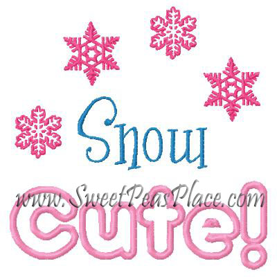 Snow Cute Applique Embroidery Design