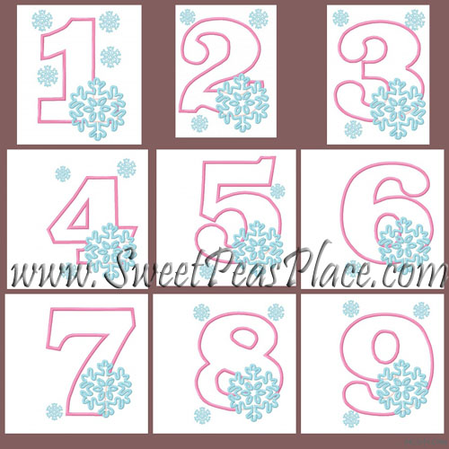 Snowflake Number Set 1-9 Applique Embroidery Design