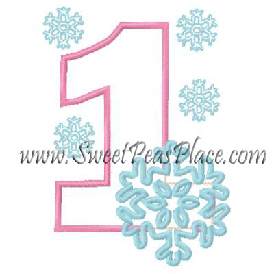 Snowflake with Number One Applique Embroidery Design
