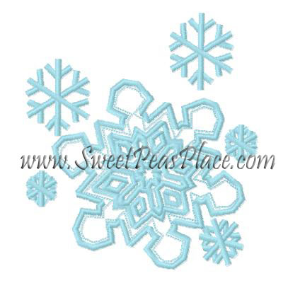 Snow Flakes Applique Embroidery Design