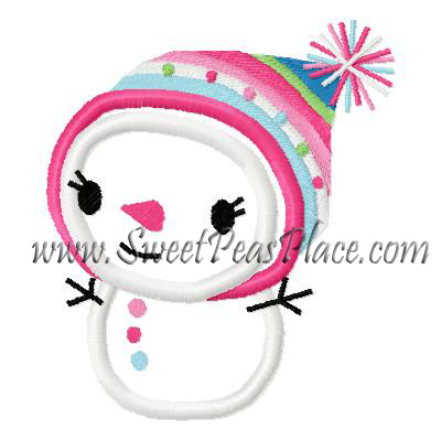 Snowman Girl Applique Embroidery Design