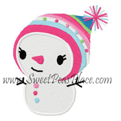 Snowman Girl Filled Embroidery Design