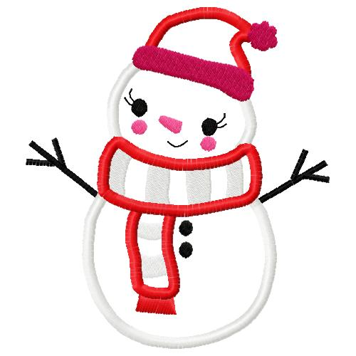 Snowman with Scarf Three Applique Embroidery Design