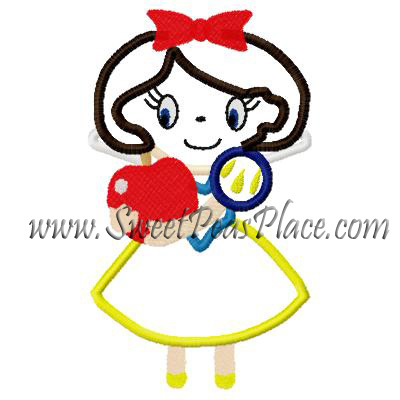 Princess With Apple Applique Embroidery Design