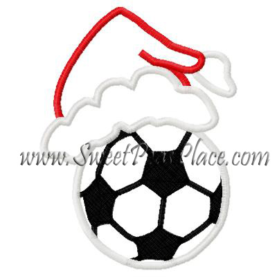 Soccerball with Santa Hat Applique Embroidery Design
