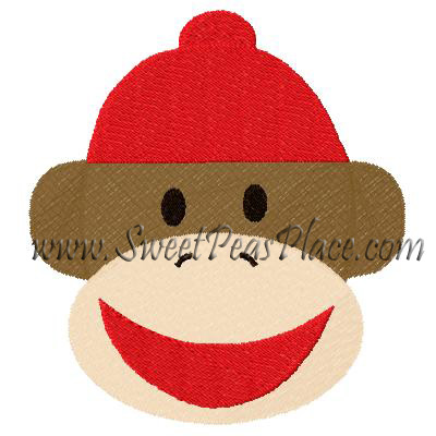Sock Monkey with Beanie Filled Embroidery Design
