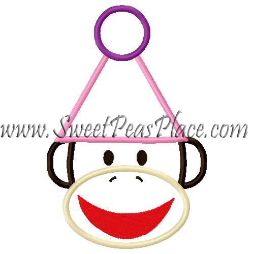 Smiling Sock Monkey with Party Hat Applique Embroidery Design