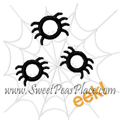 Spiders on Web Applique Embroidery Design