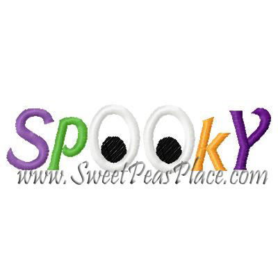 Spooky with Eyes Applique Embroidery Design