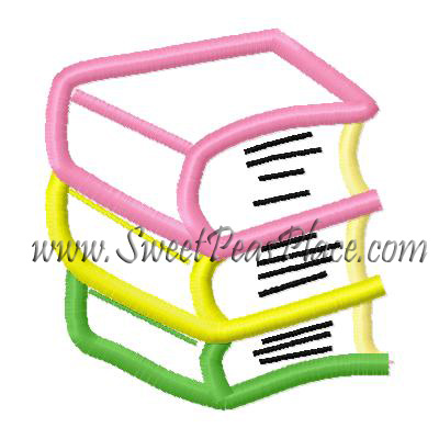 Stack of Books Applique Embroidery Design