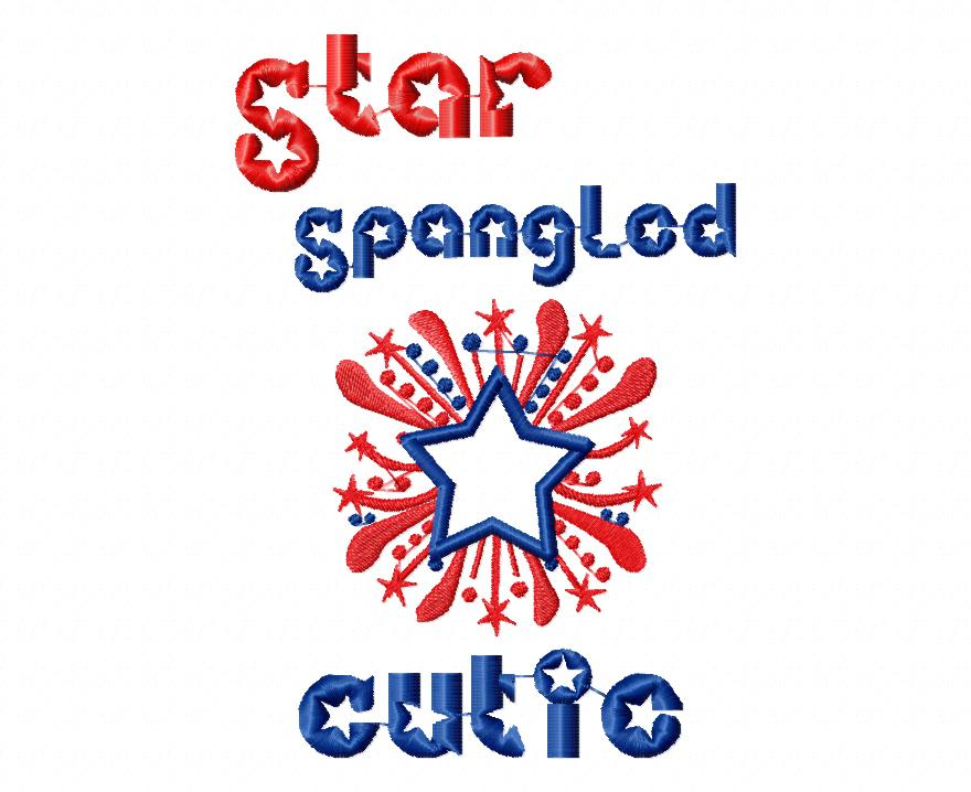 Star Spangled Cutie Applique Embroidery Design