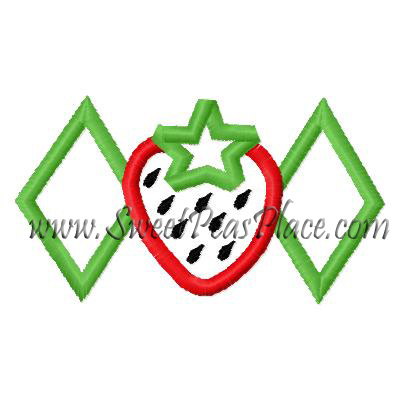 Strawberry with Diamonds Applique Embroidery Design