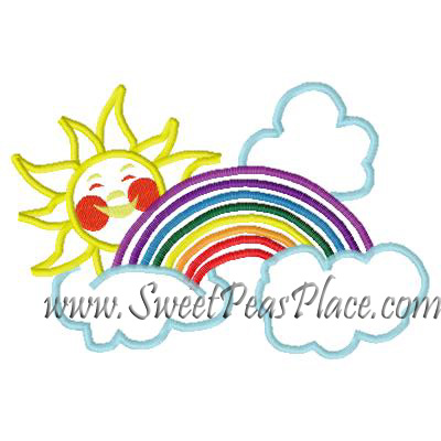 Sun and Rainbow Applique Embroidery Design
