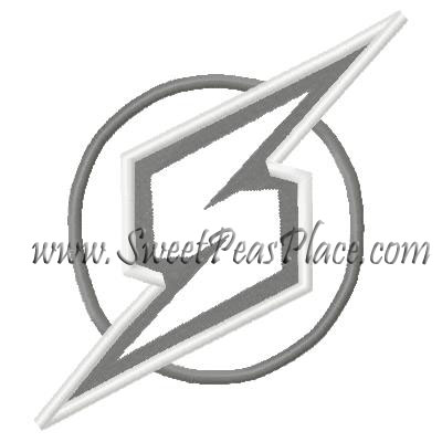 Super Hero Lightning patch Applique Embroidery Design