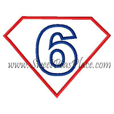 Superhero Number 6 Applique Embroidery Design