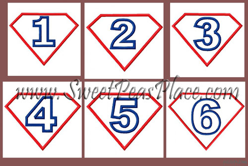 Birthday Super Hero Set Numbers 1-6 Applique Embroidery Design
