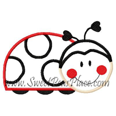 Lady Bug 2 Red Applique Embroidery Design