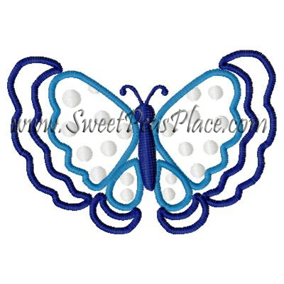Tahitian Butterfly Applique Embroidery Design
